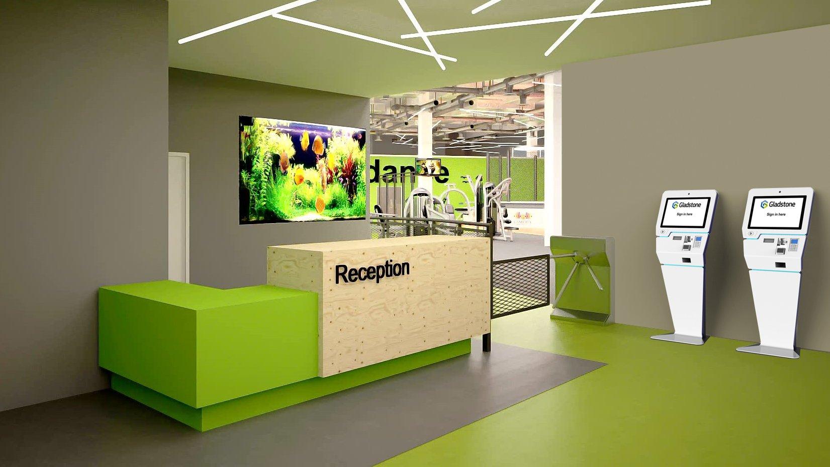 Kiosk v2 - reception render floor standing
